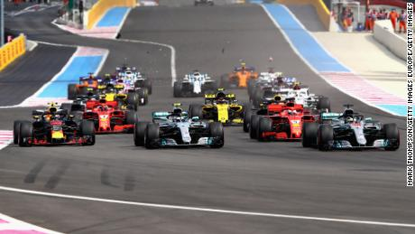 The first French GP in 10 years gets under way at the Paul Ricard Circuit.