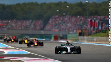 Lewis Hamilton heads towards victory at the French GP.