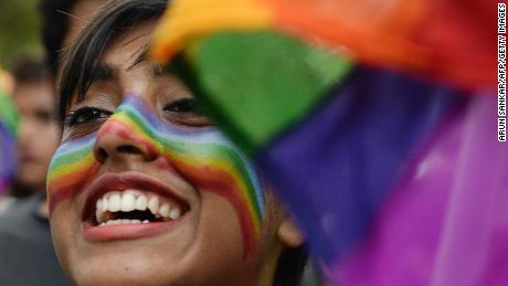 A supporter of the LGBT community takes part in a gay pride parade in the Indian city of Chennai