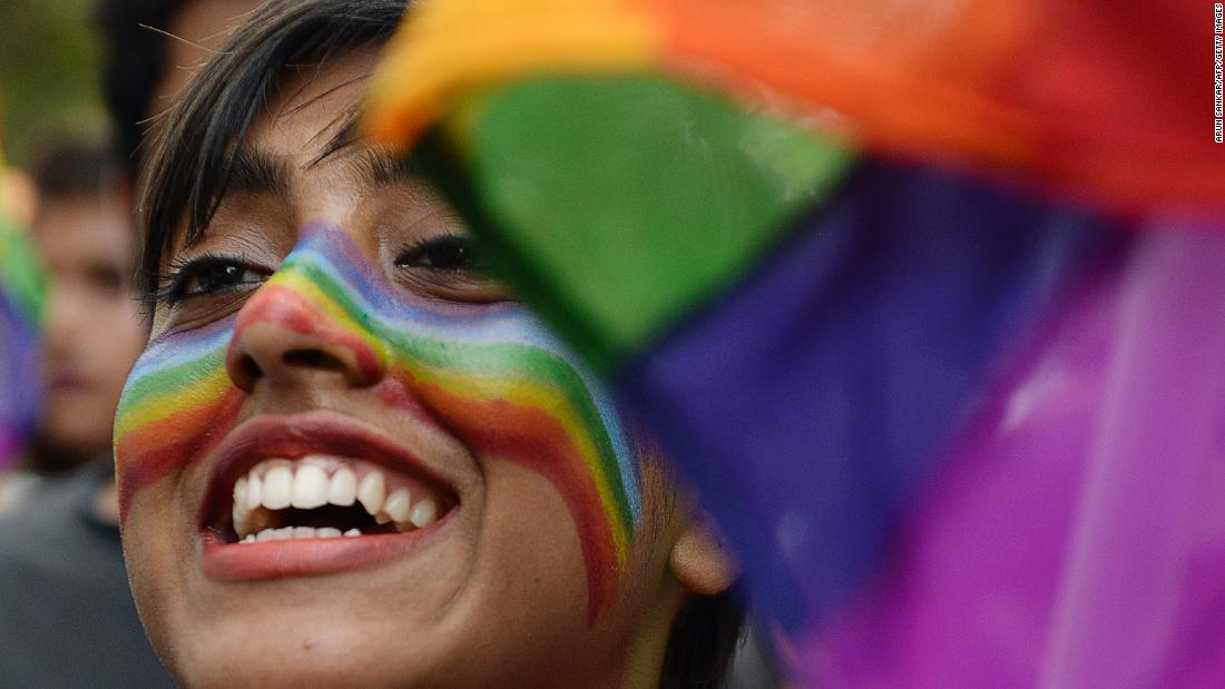 A supporter of the LGBT community takes part in a Pride parade in Chennai, India, on Sunday.