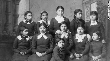 Native American girls from the Omaha tribe at Carlisle School, Pennsylvania.