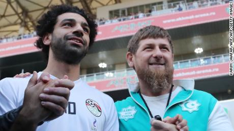 Salah (L) is pictured with head of the Chechen Republic Ramzan Kadyrov during a training at the Akhmat Arena stadium in Grozny on June 10, 2018.