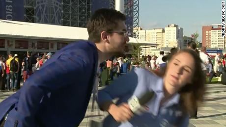 World Cup reporter shouts at man who tried to kiss her on camera