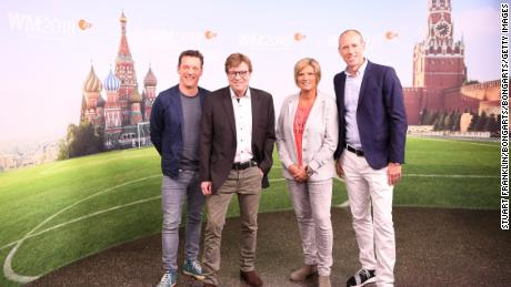 Oliver Schmidt, Bela Rethy, Claudia Neumann and Martin Schneider pose for a picture during the ARD and ZDF FIFA World Cup presenter team presentation.