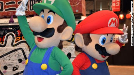 Super Mario (R) and Luigi, characters from the popular Mario Kart video game franchise.