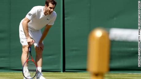 Andy Murray of Great Britain practices on court during training for the Wimbledon Lawn Tennis Championships.
