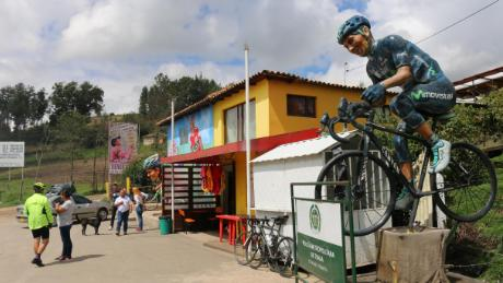 A statue outside Nairo Quintana's parent's house in Cómbita, Colombia