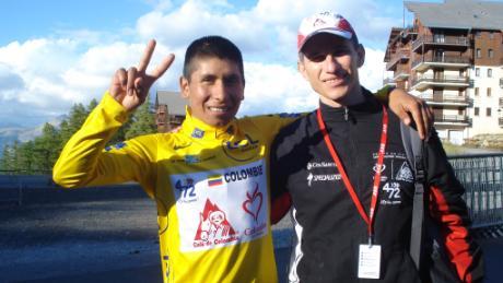 Nairo Quintana (left) with Luis Fernando Saldarriaga (right)