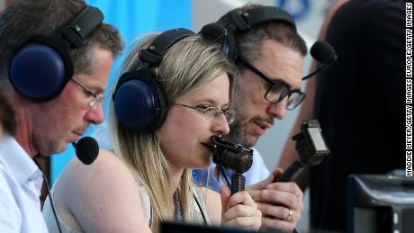 Vicki Sparks commentates for BBC during the group B match between Portugal and Morocco.