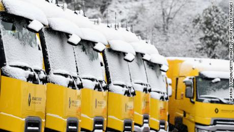 A general view of the Renault Sport F1 trucks covered in snow at Circuit de Catalunya on February 28 this year.