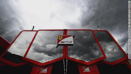 The Ferrari motorhome in the paddock.