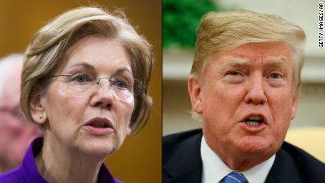Elizabeth Warren, left, and President Donald Trump