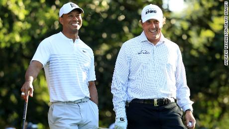 Tiger Woods (left) and Phil Mickelson played a practice round together at the Masters.