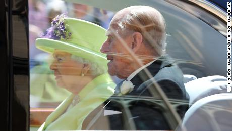 Queen Elizabeth II and Prince Philip leave St. George's Chapel after the wedding of Prince Harry to Meghan Markle on May 19