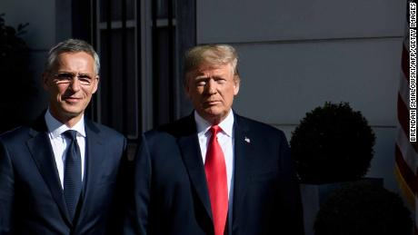 NATO Secretary General Jens Stoltenberg left next to President Donald Trump in Brussels