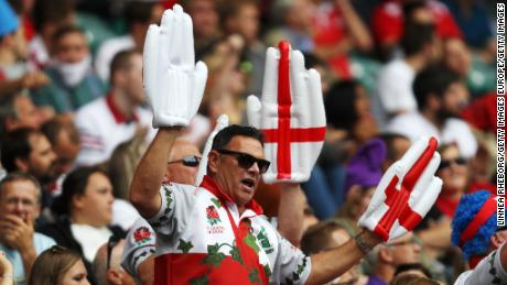 English rugby union fans at the HSBC London Sevens at Twickenham Stadium on June 2, 2018 in London.