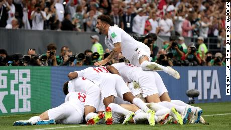 England players celebrate after opening the scoring against Croatia.