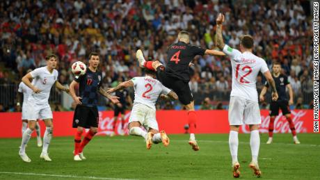 Ivan Perisic scores against England.