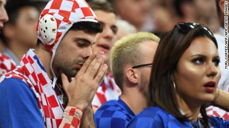 Croatia fans look concerned at the Luzhniki Stadium in Moscow.