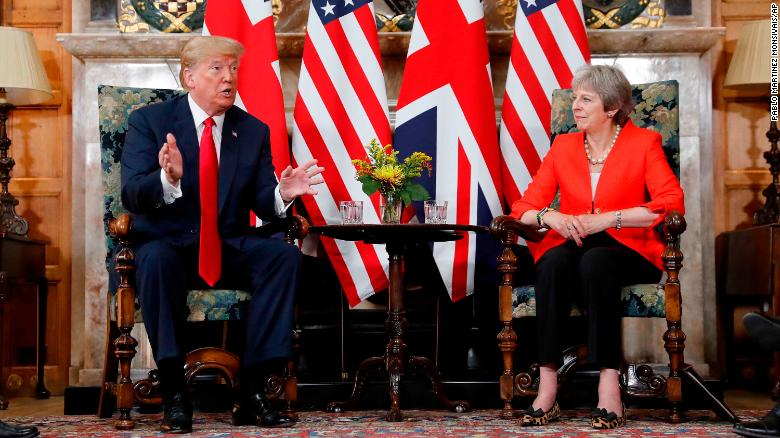 Trump, May roll their eyes when asked about president's shocking interview