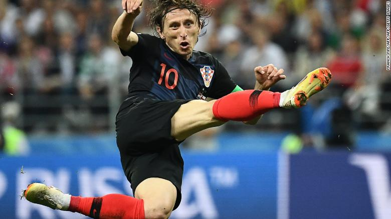 Croatia's midfielder Luka Modric attempts a shot during the Russia 2018 World Cup semi-final football match between Croatia and England at the Luzhniki Stadium in Moscow