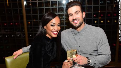 Rachel Lindsay (左) celebrates her birthday with then fiance, Bryan Abasolo (right), at Rivers Casino Philadelphia, formerly SugarHouse Casino, on April 21, 2018.