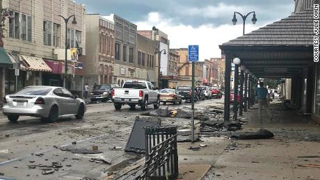 Tornado damage in the downtown area of Marshalltown