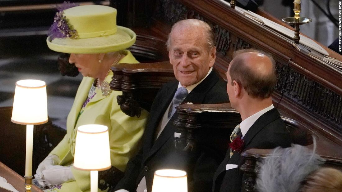 Prince Philip attends the wedding of his grandson Prince Harry and Meghan Markle in May 2018.
