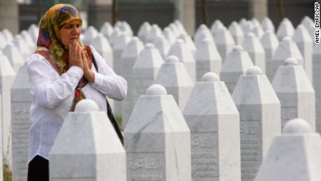 Hatidza Mehmedovic at the Potocari memorial center near Srebrenica.