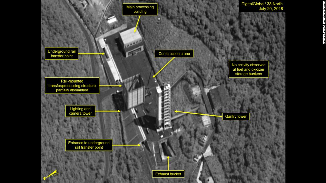 SOHAE SATELLITE LAUNCH PAD NORTH KOREA- JULY 20 2018 Figure 1. By July 20 dismantlement had begun of the rail-mounted transfer structure on the Sohae launch pad. Mandatory credit for all images DigitalGlobe/38 North via Getty Images