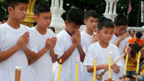 Rescued Thai boys shave heads to prepare to be Buddhist monks