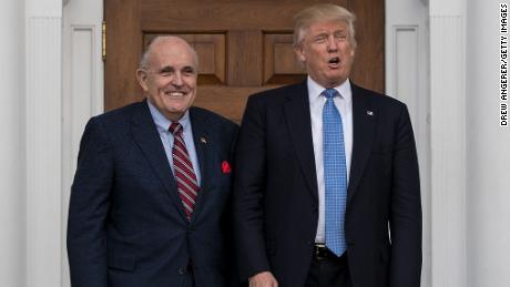 BEDMINSTER TOWNSHIP, NJ - NOVEMBER 20: (L to R) Former New York City mayor Rudy Giuliani stands with president-elect Donald Trump before their meeting at Trump International Golf Club, November 20, 2016 in Bedminster Township, New Jersey. Trump and his transition team are in the process of filling cabinet and other high level positions for the new administration.  (Photo by Drew Angerer/Getty Images)