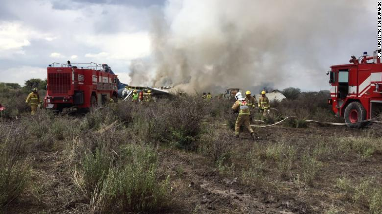 Aeromexico plane carrying 101 people crashes near airport in northern Mexico