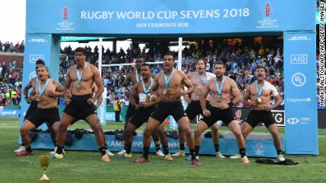 New Zealand players perform the Haka after defeating England in the Rugby Sevens World Cup final