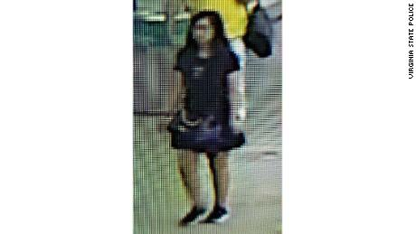 An AMBER Alert was issued for Ma Jingjing, from China, shown at Ronald Reagan National Airport in Washington, DC, shortedly before she was reporting missing.