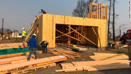 A new home is one of several under construction in the  Coffey Park neighborhood.