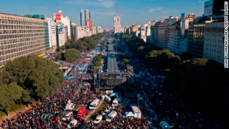 An aerial view of a protest against abortion legalization organized by the Christian Alliance of Evangelical Churches in Argentina
