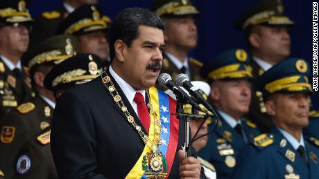 President Nicolas Maduro was delivering a speech when the explosions erupted
