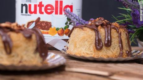 Kunafa, a traditional Arab dessert with Nutella