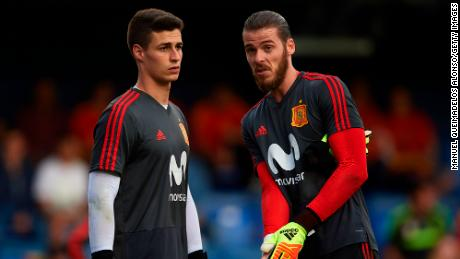 Kepa Arrizabalaga (left) and David de Gea of Spain warm up for a friendly with Switzerland in June.
