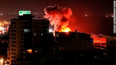 Smoke rises following an Israeli air strike on Gaza City