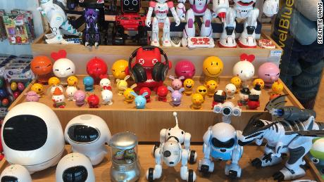 An array of educational robots on display in a electronics store in Shenzhen, China. AI-powered toys are sought-after digital consumables in Chinese market, and they can be as cheap as around $100.