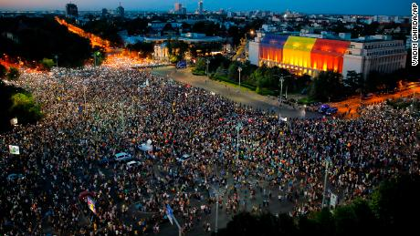 Romanians gathered in Bucharest Saturday night for a second day of protests