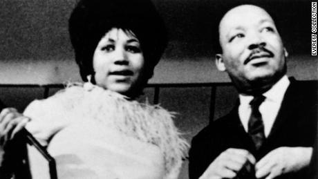 Aretha Franklin and Dr. Martin Luther King Jr. in the late 1960s