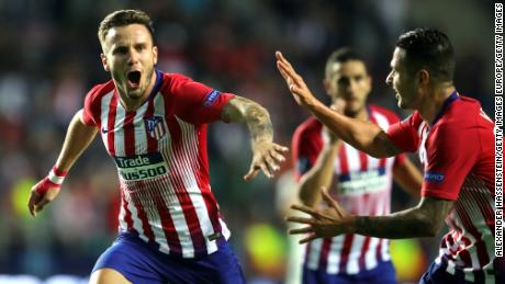 Saul Niguez of Atletico Madrid celebrates after scoring his side's third goal.