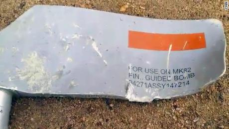 Munitions experts said the numbers on this piece of shrapnel confirmed that Lockheed Martin was the maker of the bomb.