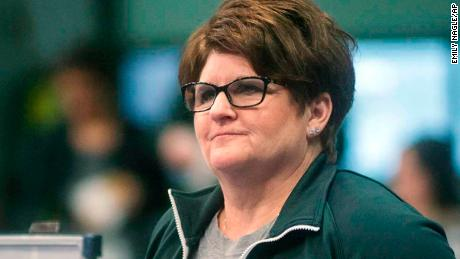 Michigan State University gymnastics head coach Kathie Klages watches the team during a meet in East Lansing, Michigan, on February 13, 2015.