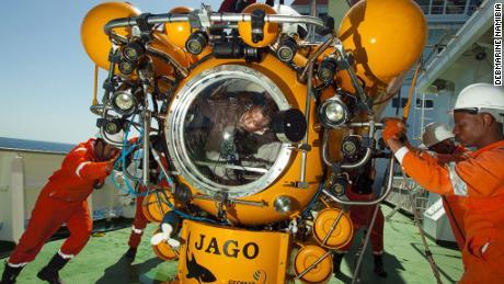 Debmarine Namibia's submarine examines the geology of the seabed.