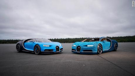 A Bugatti Chiron on the left next to the Lego-built version on the right