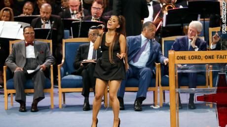 Ariana Grande performs during the funeral service Friday at Detroit's Greater Grace Temple.